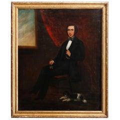 Antique Oil on Canvas Portrait Painting of Gentleman, circa 1840