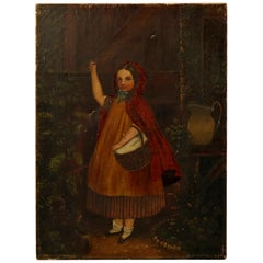 Antique Oil on Canvas Portrait Painting of Little Red Riding Hood, circa 1900