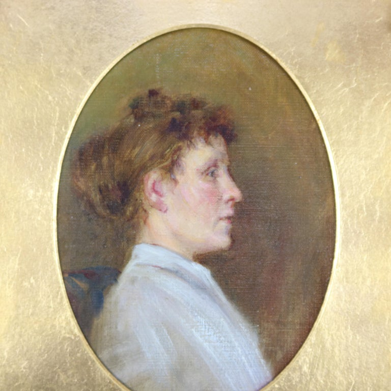Antique oil on canvas portrait painting of woman in Victorian garb and seated in scroll, gadroon and foliate decorated giltwood frame with cameo presentation, c1890  Measures - overall 16