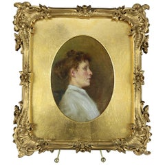 Antique Oil on Canvas Portrait Painting of Maiden in Giltwood Frame, circa 1890