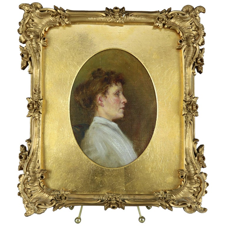 Antique Oil on Canvas Portrait Painting of Maiden in Giltwood Frame, circa 1890 For Sale