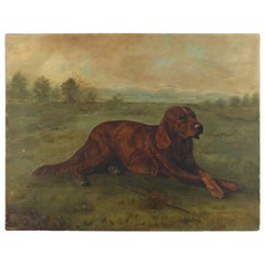 Antique Oil on Canvas Portrait Painting of Retriever Hunting Dog, 19th Century