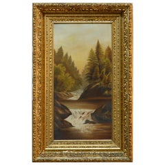 Antique Hudson River School Mountain Landscape Painting in Giltwood Frame, c1890