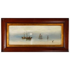 """Antique Oil on Canvas Seascape """"Evening"""" by Barker, circa 1900"""