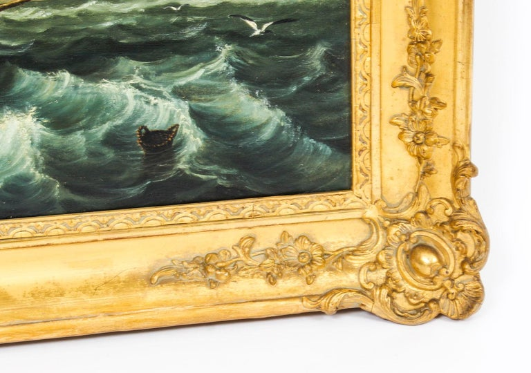 Antique Oil on Canvas Seascape Painting 19th Century For Sale 6