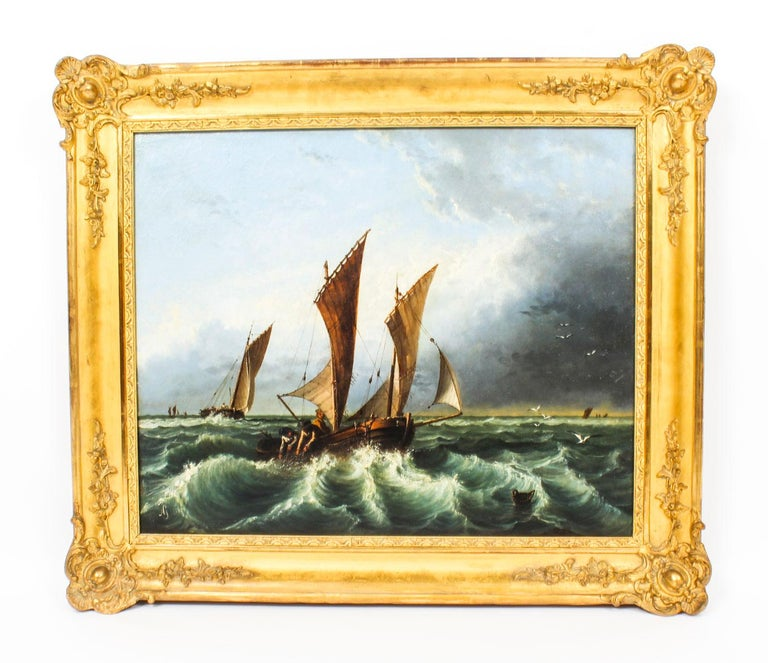 Antique Oil on Canvas Seascape Painting 19th Century For Sale 8