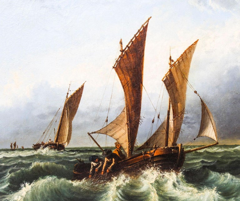 Antique Oil on Canvas Seascape Painting 19th Century In Good Condition For Sale In London, GB