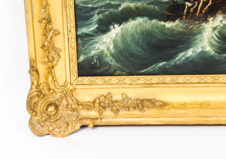 Antique Oil on Canvas Seascape Painting 19th Century For Sale 3