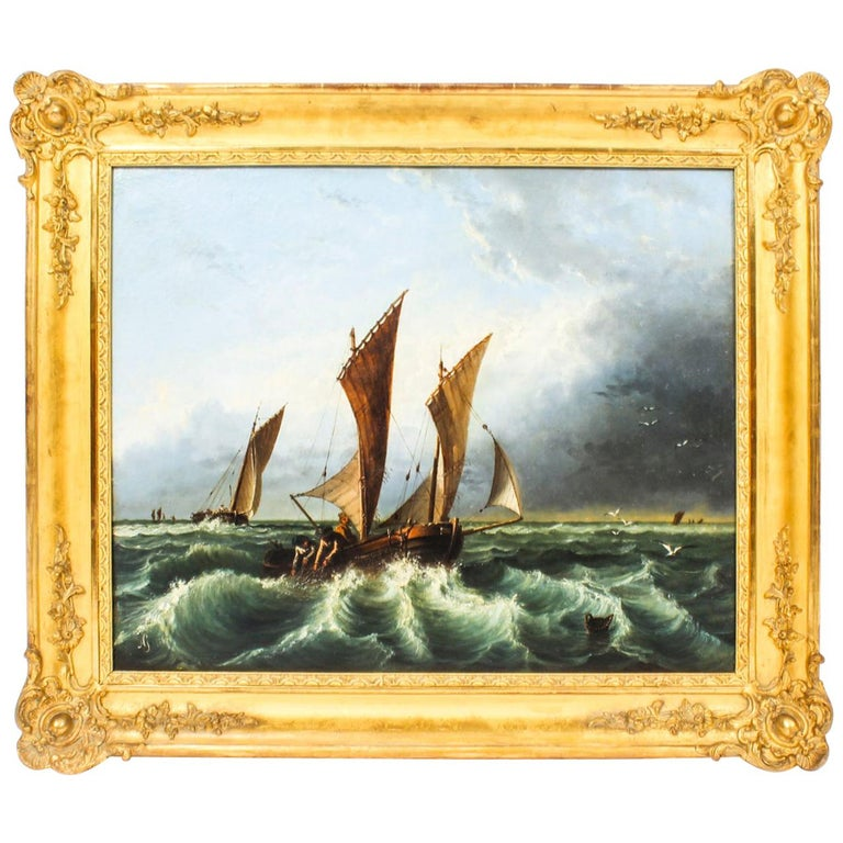 Antique Oil on Canvas Seascape Painting 19th Century For Sale