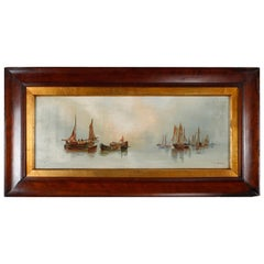 """Antique Oil On Canvas Seascapes """"Grey Morning"""" by Barker, circa 1900"""