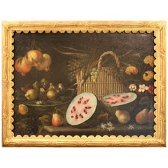 Antique Oil on Canvas Still Life Neopolitan School