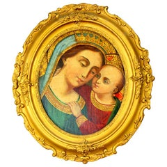 Antique oil on hardboard painting depicting Madonna and child, 19th century