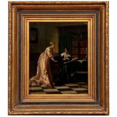 Antique Oil on Panel, Female Figures Reading