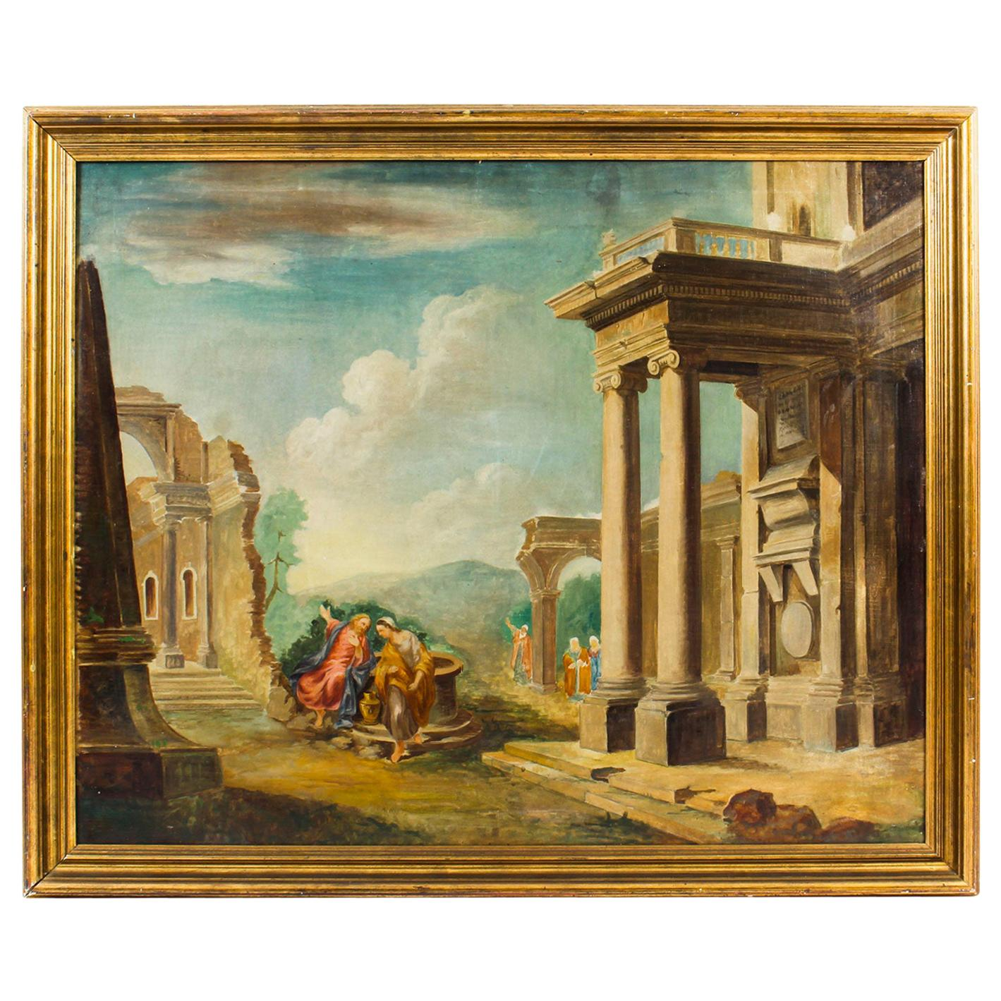 Antique Oil Painting 'Classical Roman Ruins', 19th Century