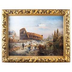 Antique Oil Painting François Gérard 1770 - 1837 of The Colosseum, 19th Century
