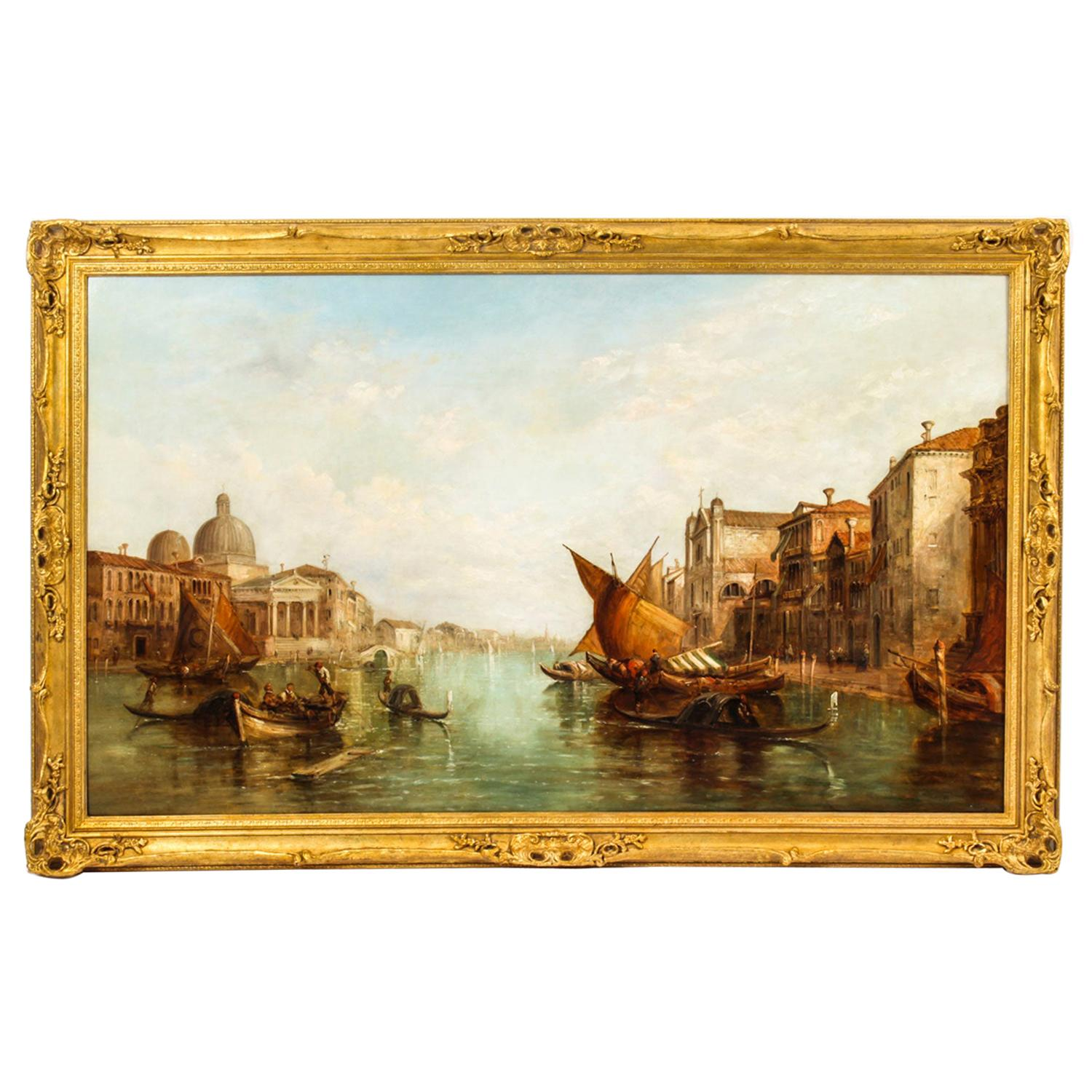Antique Oil Painting Grand Canal Alfred Pollentine Dated 1877, 19th Century