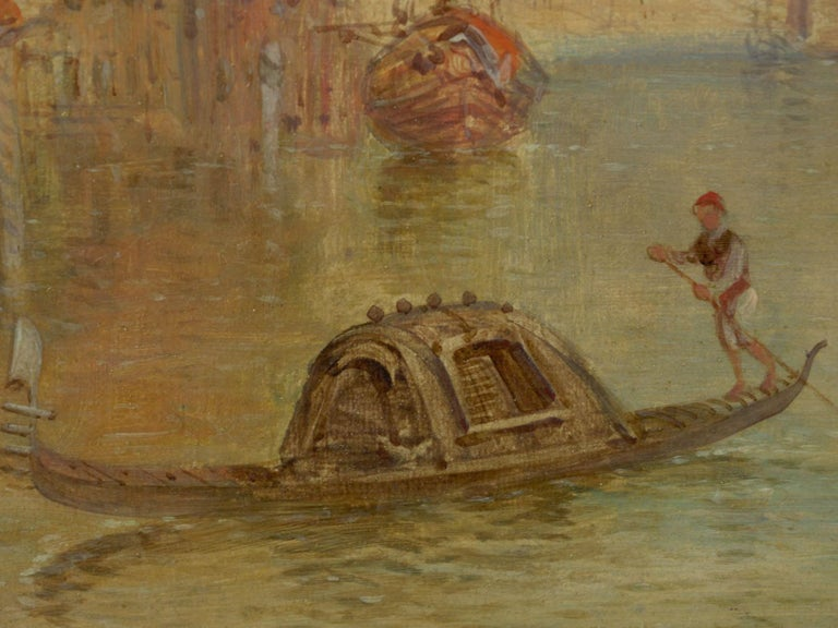 """Antique Oil Painting """"Grand Canal, Venice"""" 1889 by Alfred Pollentine For Sale 3"""