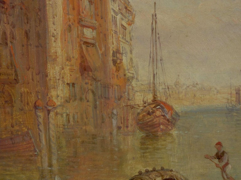 """Antique Oil Painting """"Grand Canal, Venice"""" 1889 by Alfred Pollentine For Sale 4"""