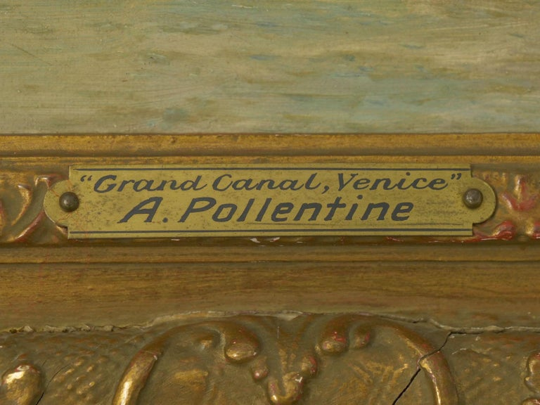 """Antique Oil Painting """"Grand Canal, Venice"""" 1889 by Alfred Pollentine For Sale 6"""
