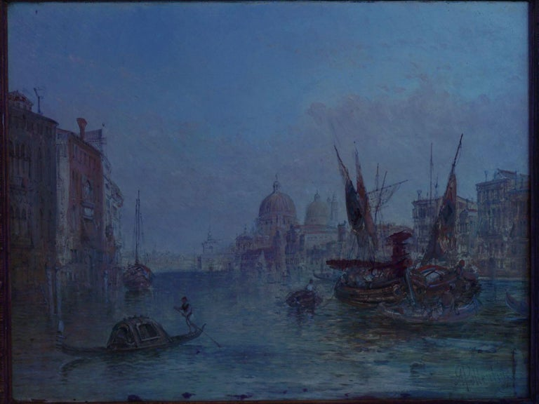 """Antique Oil Painting """"Grand Canal, Venice"""" 1889 by Alfred Pollentine For Sale 7"""
