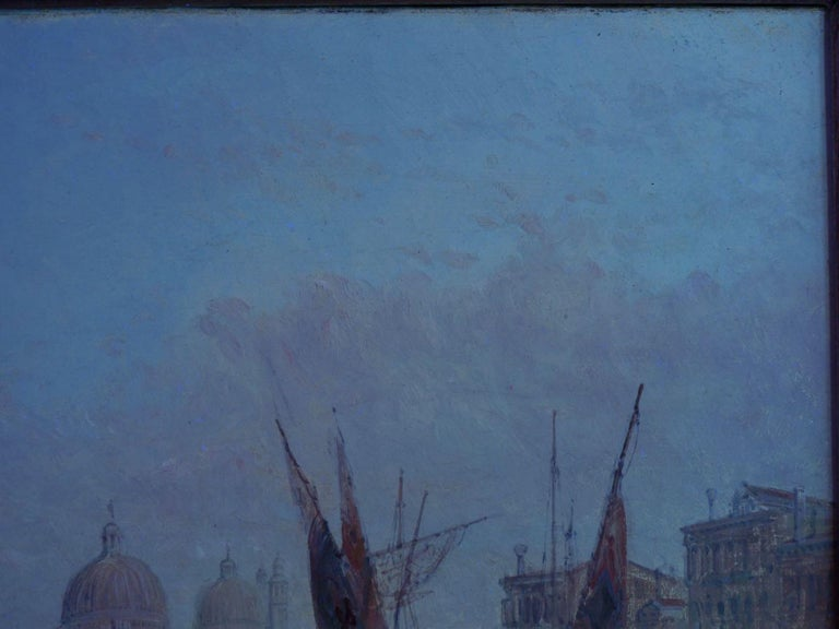 """Antique Oil Painting """"Grand Canal, Venice"""" 1889 by Alfred Pollentine For Sale 8"""