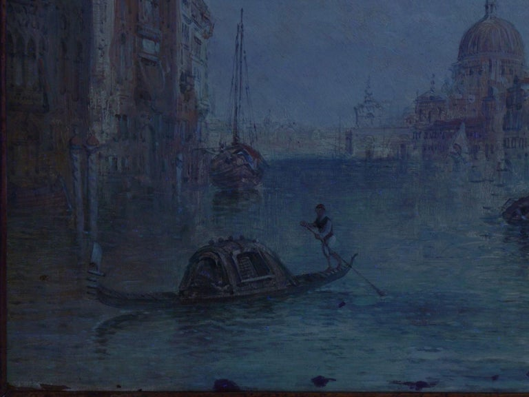 """Antique Oil Painting """"Grand Canal, Venice"""" 1889 by Alfred Pollentine For Sale 10"""