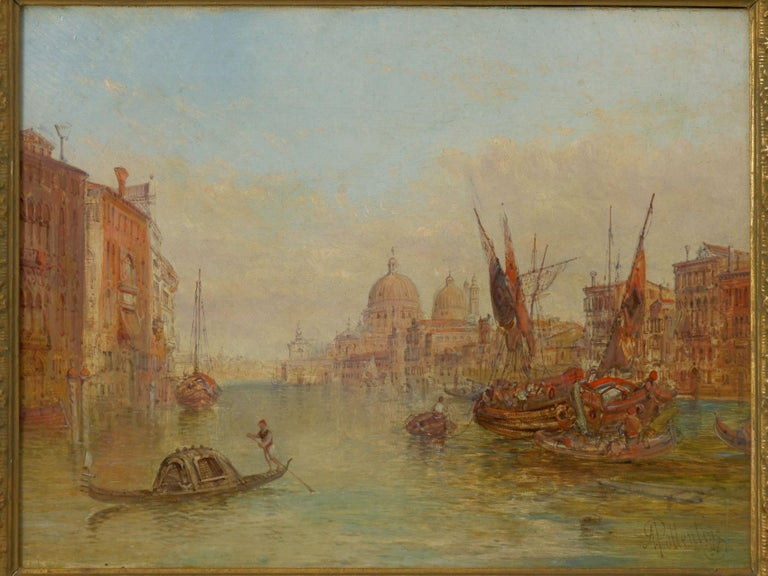Typical of Alfred Pollentine's Venetian views, the present painting is incredibly romantic and full of life. With a palette full of pastels and vibrant colors, he mixes colors with an eye towards realism and a brush-stroke bordering on