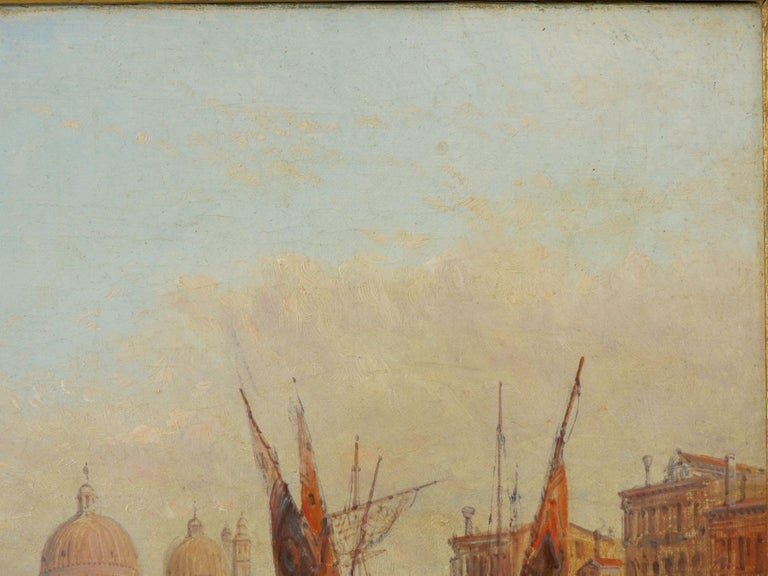 """Romantic Antique Oil Painting """"Grand Canal, Venice"""" 1889 by Alfred Pollentine For Sale"""