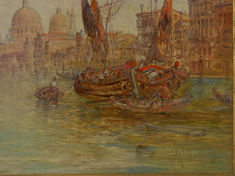"""English Antique Oil Painting """"Grand Canal, Venice"""" 1889 by Alfred Pollentine For Sale"""
