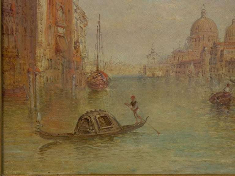 """Hand-Painted Antique Oil Painting """"Grand Canal, Venice"""" 1889 by Alfred Pollentine For Sale"""