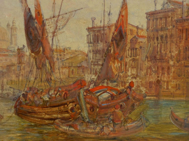 """Canvas Antique Oil Painting """"Grand Canal, Venice"""" 1889 by Alfred Pollentine For Sale"""