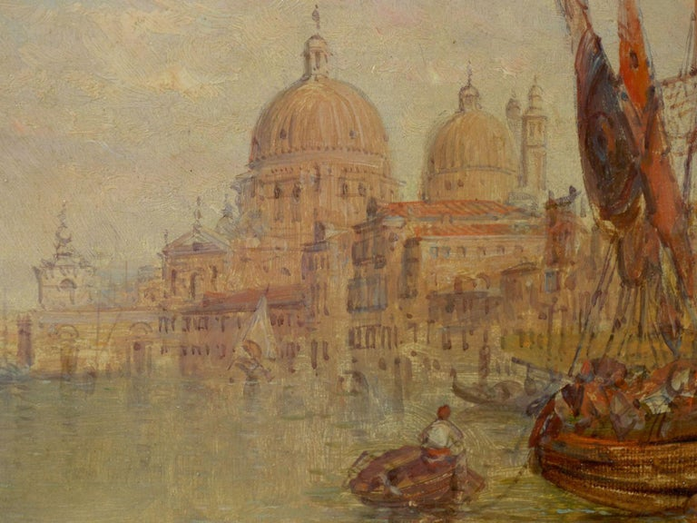 """Antique Oil Painting """"Grand Canal, Venice"""" 1889 by Alfred Pollentine For Sale 1"""