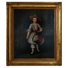 Antique Oil Painting in Giltwood Frame, Portrait of a Young Drummer Girl, 20th C