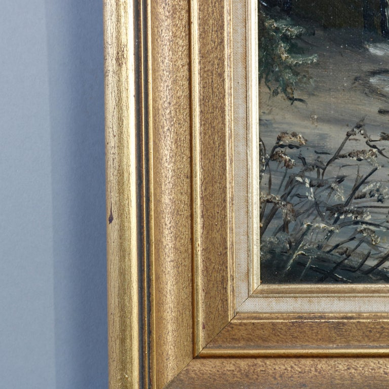 Antique Oil Painting Landscape Winter Scene with Boy by Frank M. Pasew, 19th C For Sale 4