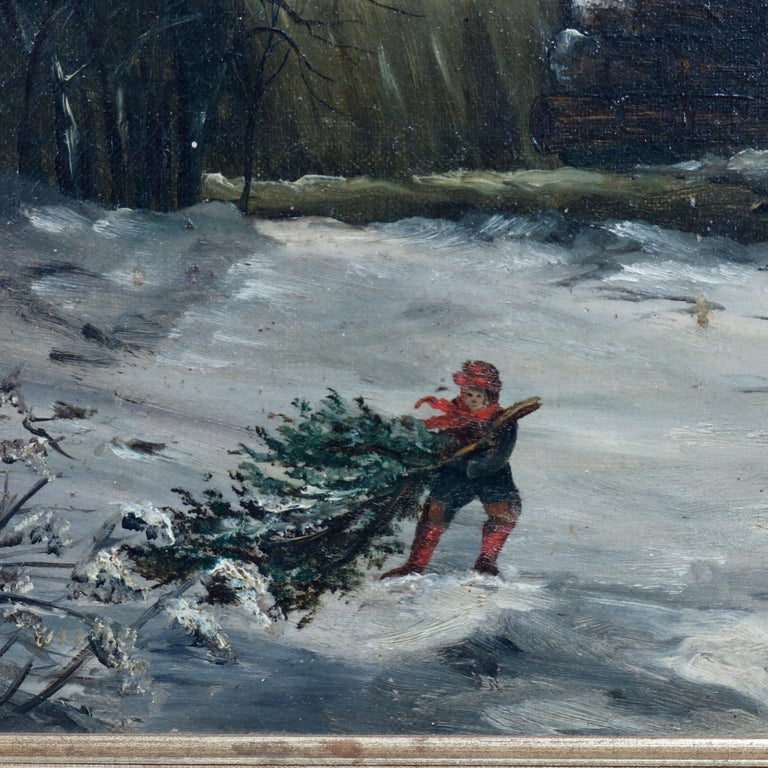 An antique landscape painting offers oil on canvas winter scene with a boy dragging a Christmas tree toward a barn aside a river with waterfall, artist signed lower right Frank M. Pasew, seated in giltwood frame, 19th century  Measures: 18.5