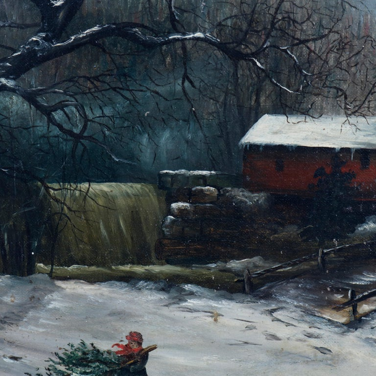 Carved Antique Oil Painting Landscape Winter Scene with Boy by Frank M. Pasew, 19th C For Sale