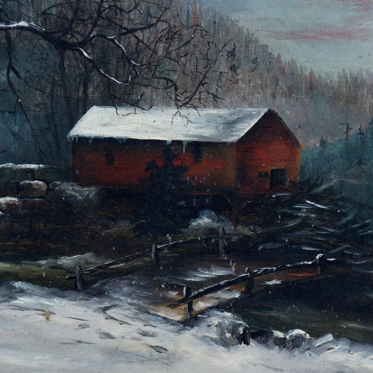 Antique Oil Painting Landscape Winter Scene with Boy by Frank M. Pasew, 19th C In Good Condition For Sale In Big Flats, NY