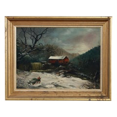 Antique Oil Painting Landscape Winter Scene with Boy by Frank M. Pasew, 19th C