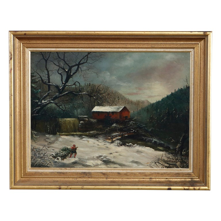 Antique Oil Painting Landscape Winter Scene with Boy by Frank M. Pasew, 19th C For Sale