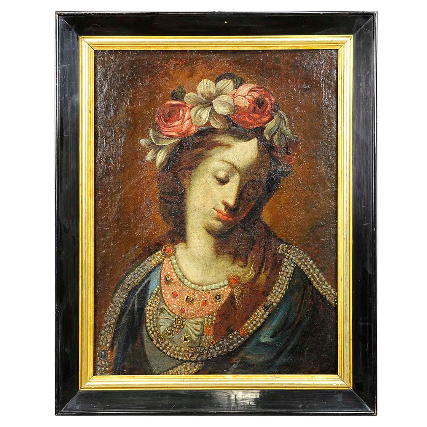 Antique Oil Painting, Mother of the Beautiful Love, 19th Century