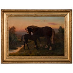 Antique Oil Painting of a Horse / Mare and Her Foal, circa 1880