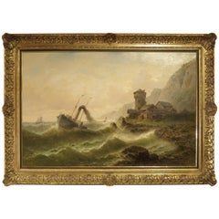 Antique Oil Painting of a Steam Ship in Rough Seas, Albert Rieger, 19th Century