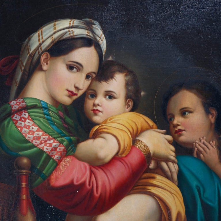 A large and well executed antique oil on canvas old master copy after Raphael's Madonna della Sedia depicts the Virgin Mary holding Baby Jesus (The Christ Child), seated in giltwood frame, 19th century.  Measures: 45