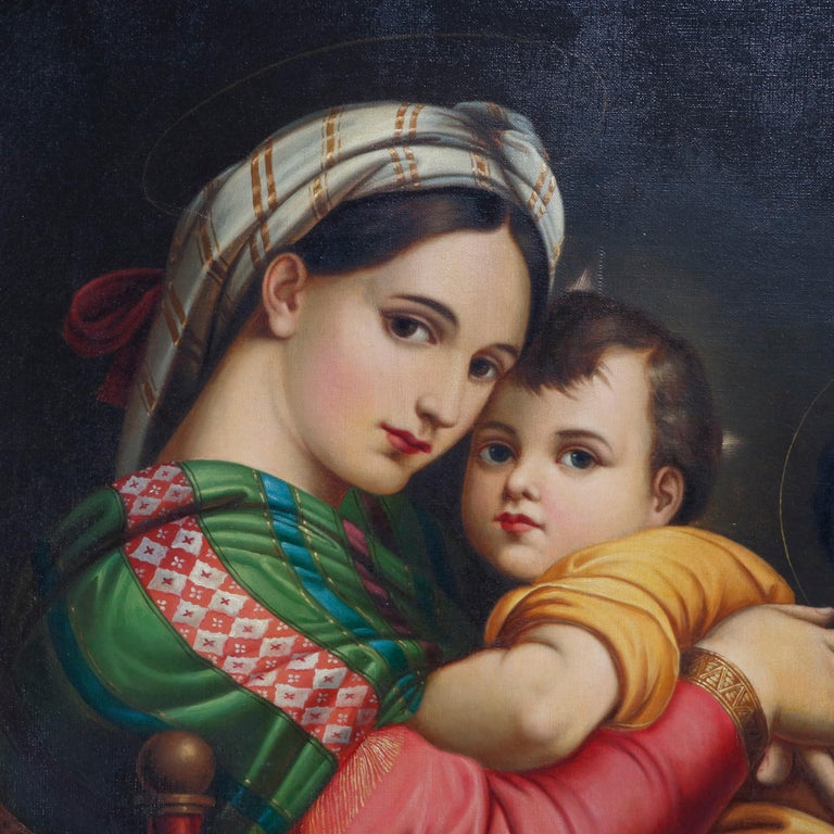 Italian Oil Painting Old Master Copy after Raphael's Madonna Della Sedia, 19th Century For Sale