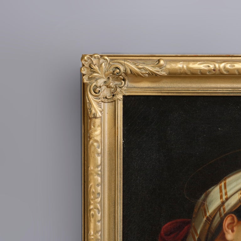 Oil Painting Old Master Copy after Raphael's Madonna Della Sedia, 19th Century For Sale 1