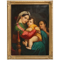 Oil Painting Old Master Copy after Raphael's Madonna Della Sedia, 19th Century