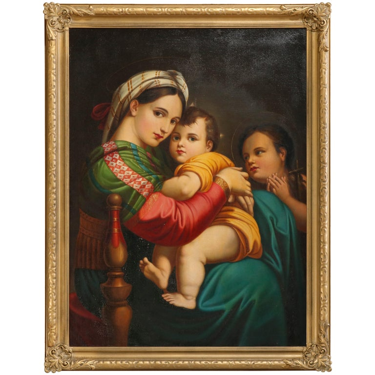 Oil Painting Old Master Copy after Raphael's Madonna Della Sedia, 19th Century For Sale