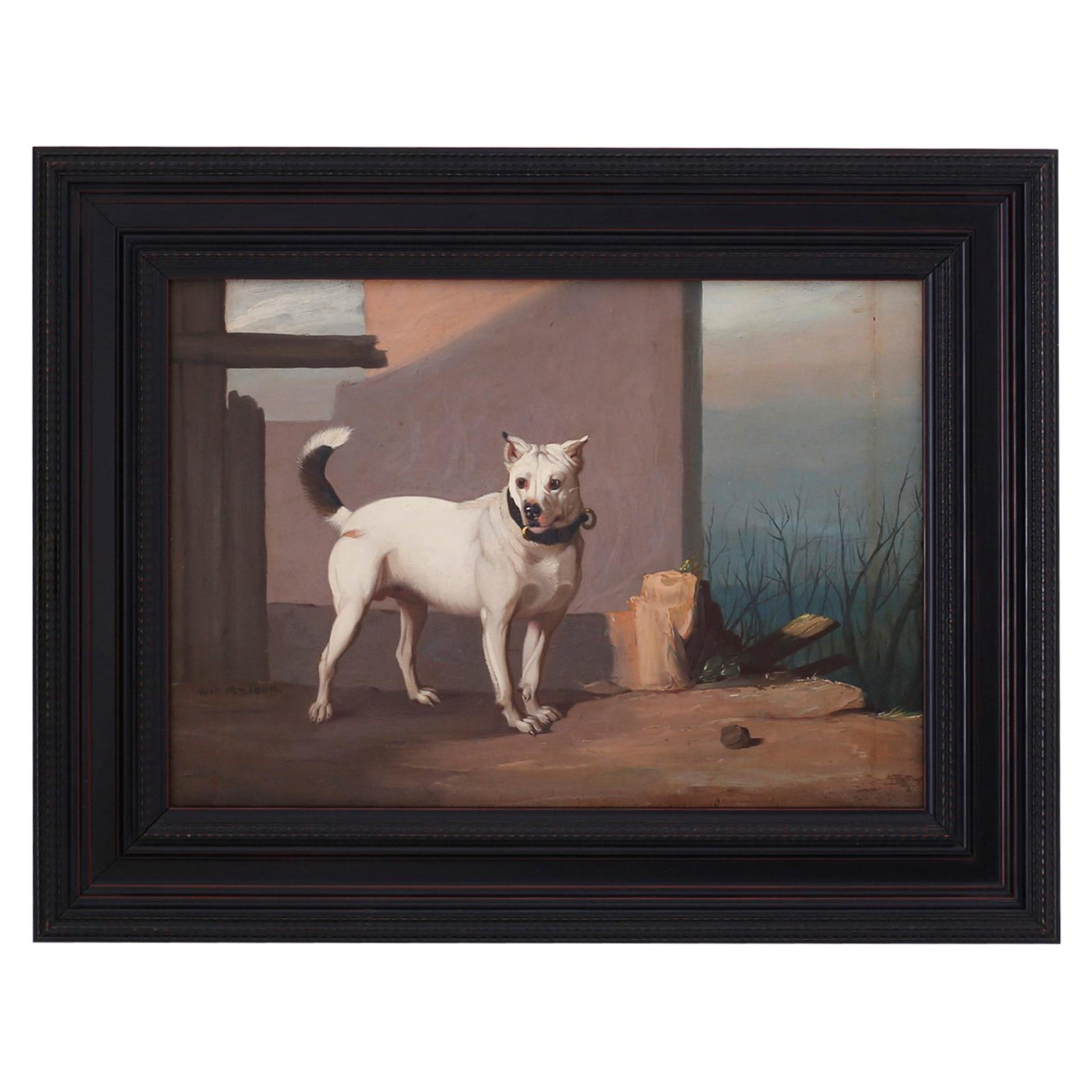 Antique Oil Painting on Board of a Dog