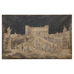 Antique Oil Painting on Canvas, 18th Century Villa in Black and White, Italy