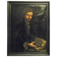 "Antique Oil Painting on Canvas, Character ""tutor"", Black Frame, 1700, Italy"